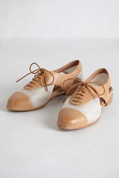 Anthropologie Beige Prospector Oxfords // with cutout and mesh detail, cooler for summer