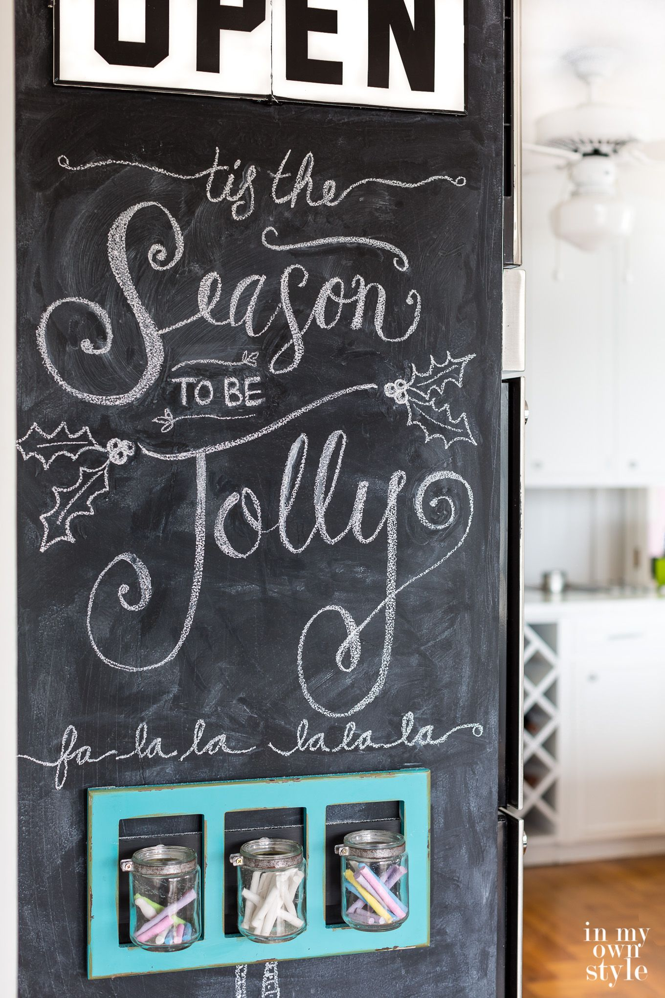 Why I Painted A Floor To Ceiling Chalkboard Wall In My Kitchen Chalkboard Wall Kitchen Chalkboard Christmas Chalkboard