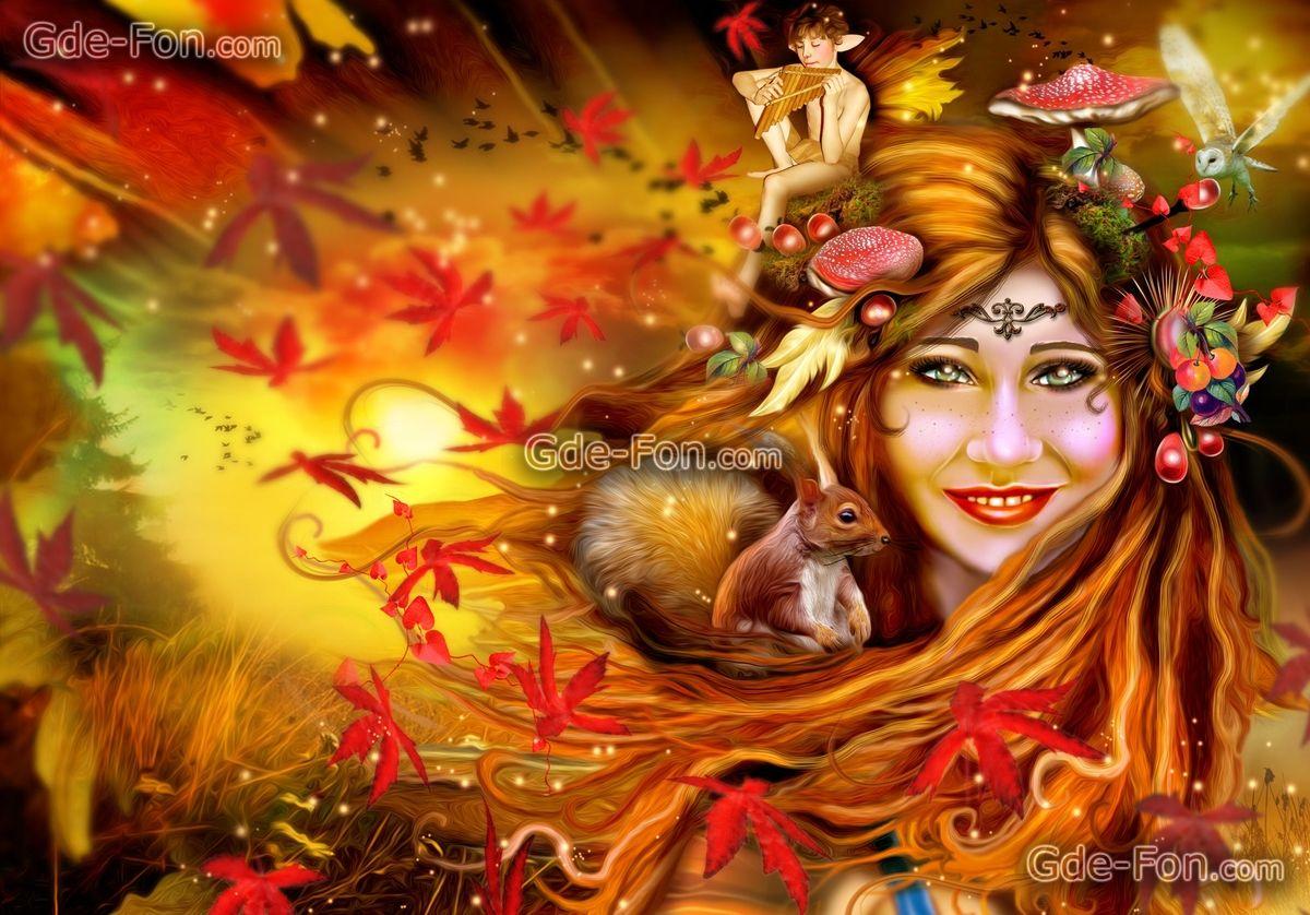 белка, эльф, осень, грибы, девушка, листья, сова