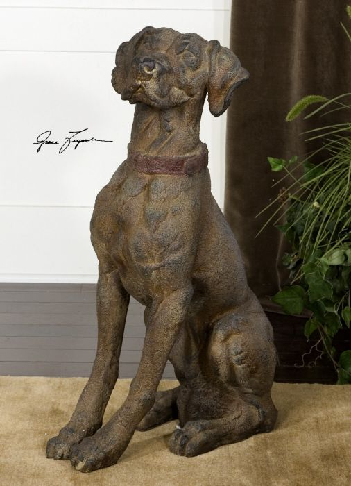 Features A Distressed Rust Brown Finish With Burnt Yellow And Aged Black Undertones Statue Pet Ramp Decor