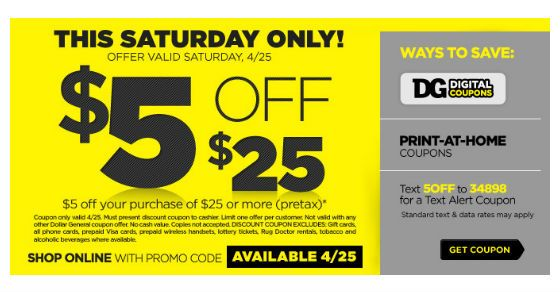 Dollar General Coupon Save 5 Off 25 Purchase 4 25 Dollar General Couponing Dollar General Print Coupons