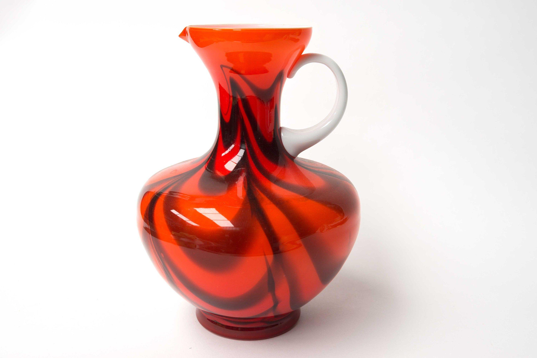 Retro Red Italian Cased Opaline Glass Large Ewer Vase Opaline Glass Vase Glass