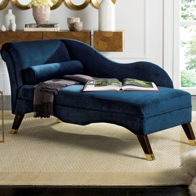 Melania Chaise Lounge Fabric Velvet Navy In 2020 Lounge Furniture Home