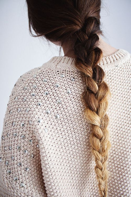 Fade away into comfort with an ombre braid and an embellished knit sweater