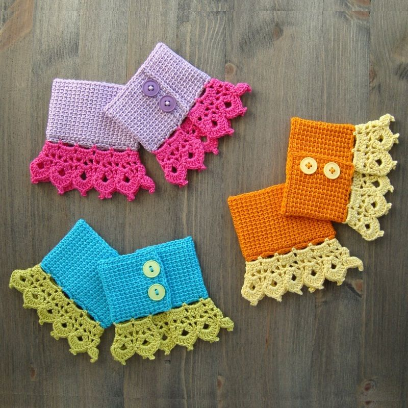 Cuffs In Tunisian Crochet With Lace Edging | Crochet Patterns ...