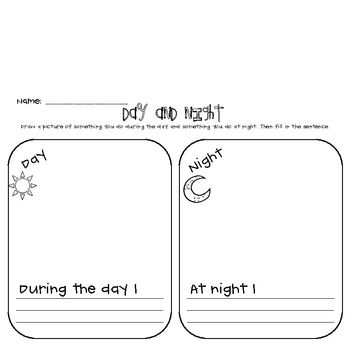 Free One Page Day And Night Comparison Sheet Did You Know That You Can Earn Credits Towards Futu First Grade Science 1st Grade Science Kindergarten Science