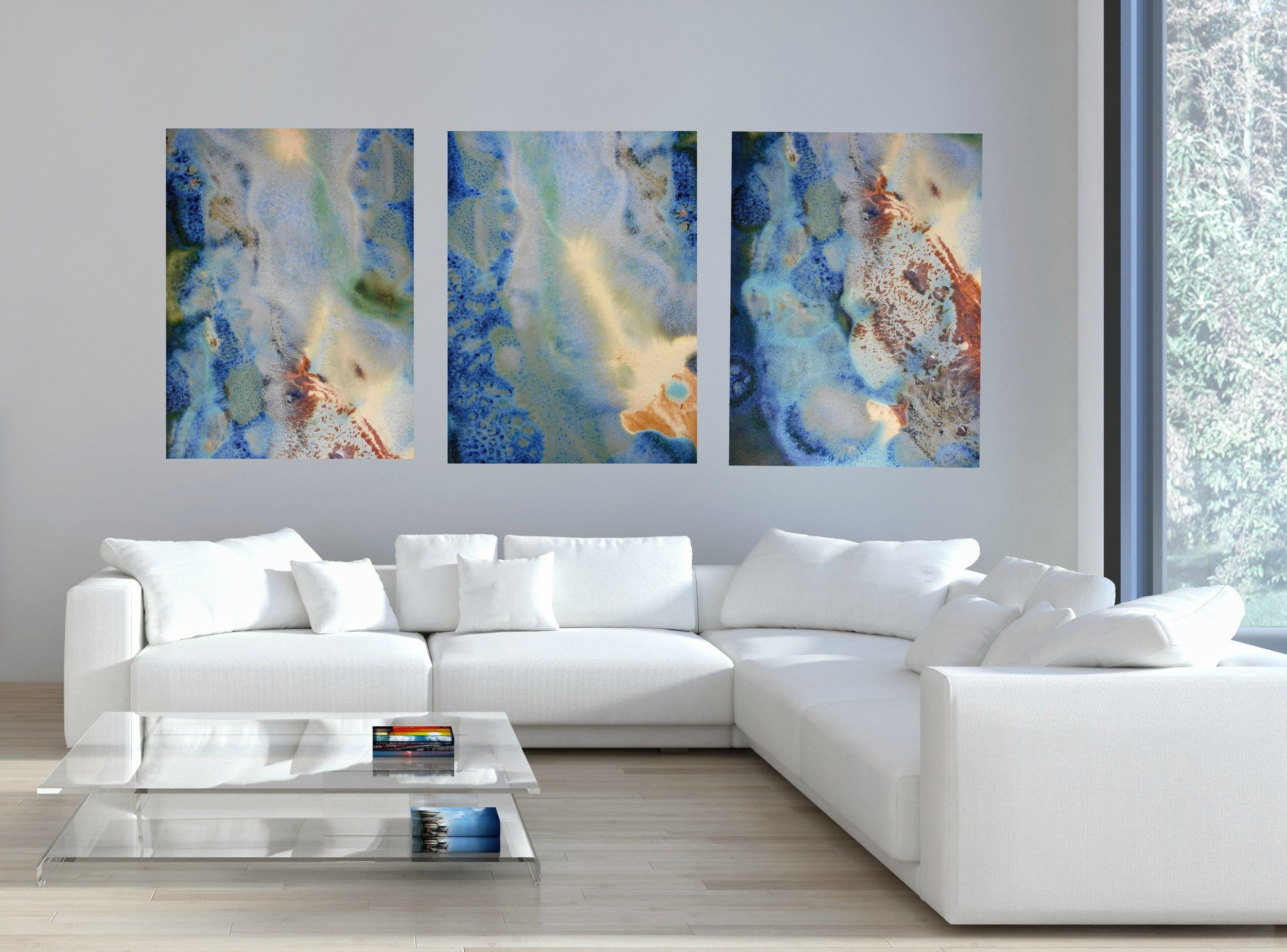 sofa paintings abstract raymour and flanigan clearance sofas set of 3 rectangular green blue yellow canvas