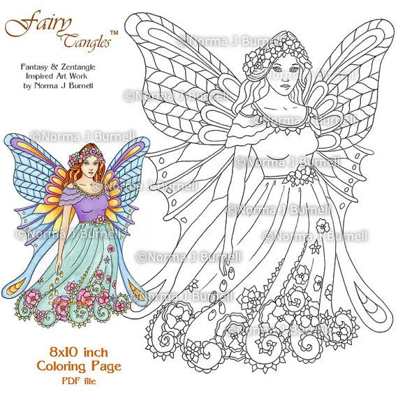 Fairy Tangles Printable Coloring Pages By Norma J Burnell Fairies To Color Flower Book