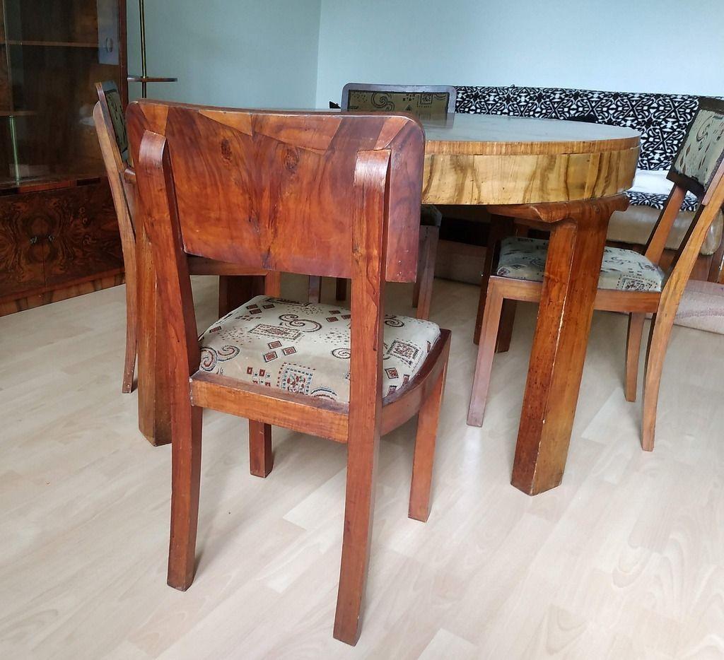 Licytacja Stol Okragly I Krzesla Art Deco Stare Krzeslo Tarnow Allegro Lokalnie