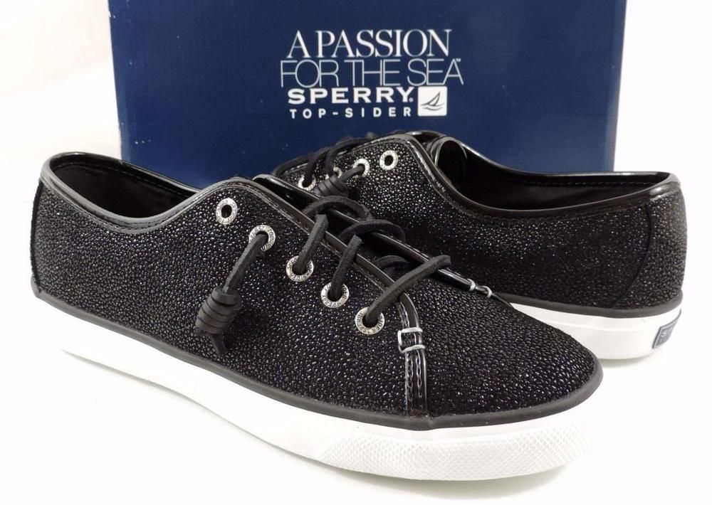 Women's Shoes Sperry Top Sider SEACOAST Fashion Sneakers Cavier Black Size 7 #SperryTopSider #Fashionsneakers