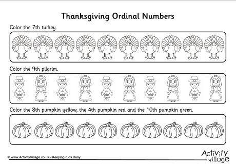 Ordinal Numbers Worksheet Thanksgiving 2 Ordinal Numbers Number Worksheets Thanksgiving Units Thanksgiving counting worksheets for