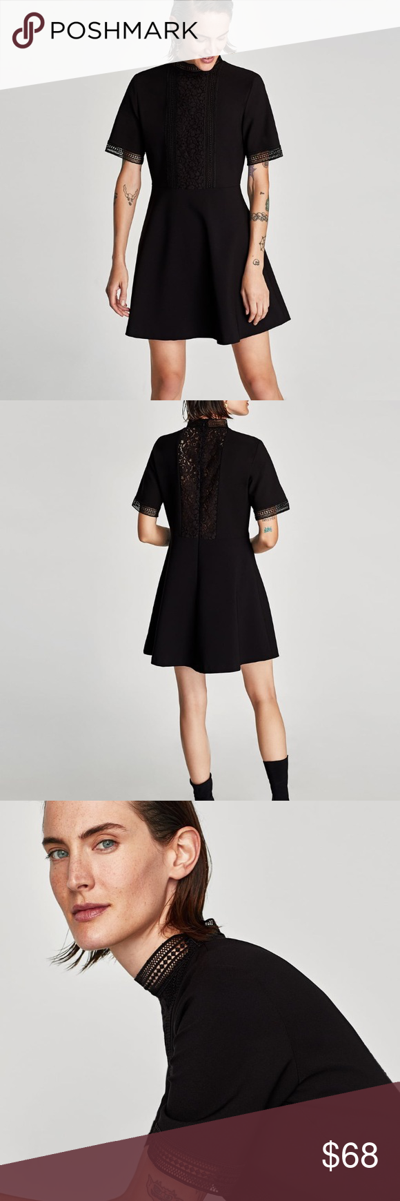 828568127d Zara mock neck lace back skater dress Size Small new with tags ...