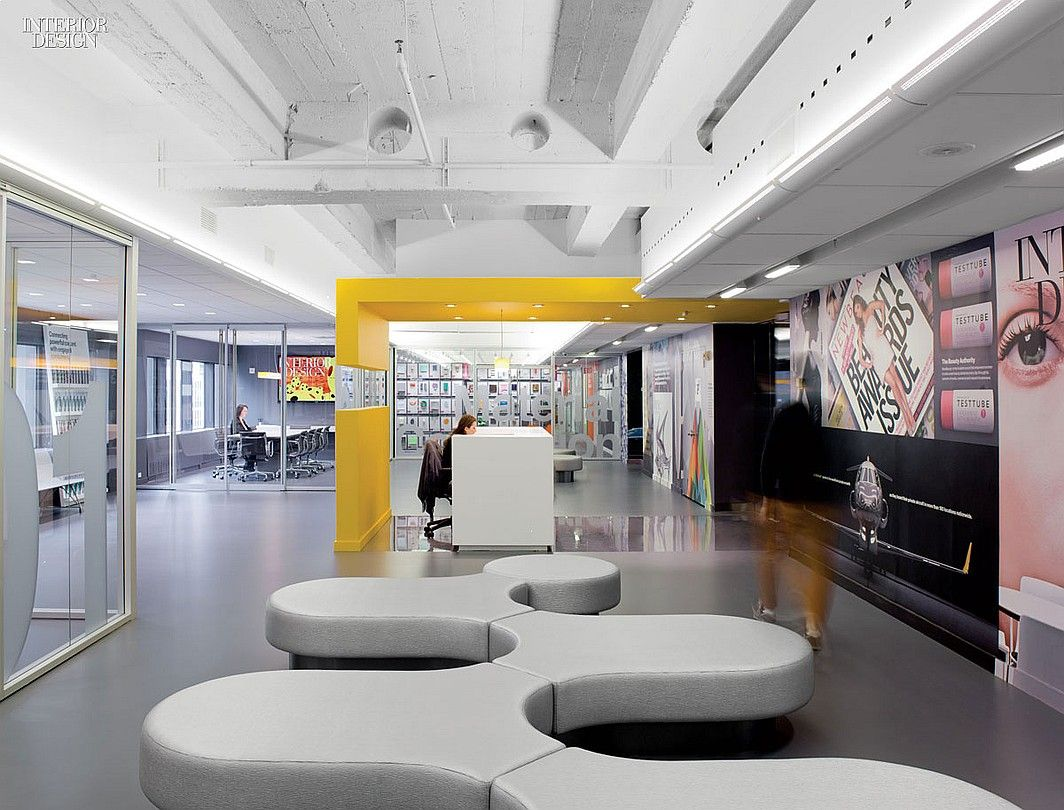 A strong statement at sandow 39 s new york headquarters for Modern interior design magazines