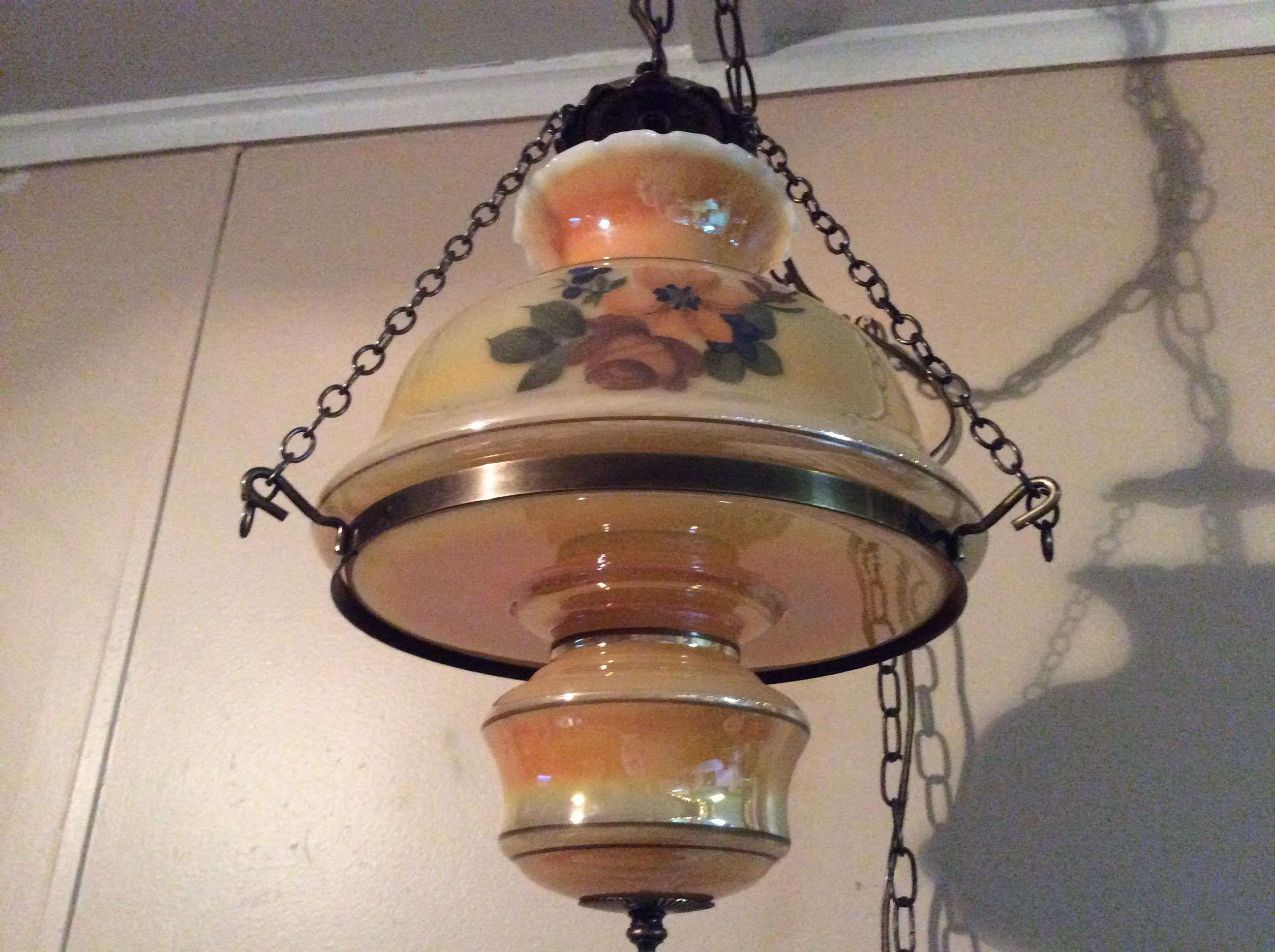 Vintage Gwtw Style Hanging Swag Hurricane Lamp 1950s 1960s Hurricane Lamps Antique Lighting Old Lights