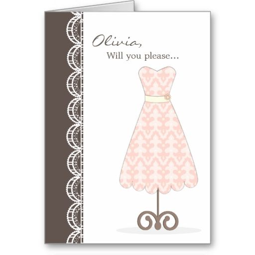 Pretty Pink Dress Will You Be My Bridesmaid? Card