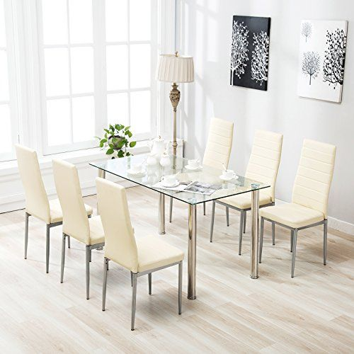 1d3b01c287525 Mecor-7-Piece-Kitchen-Dining-Set-Glass-Top-Table-with-6-Leather-Chairs -Breakfast-Furniture-Beige-0