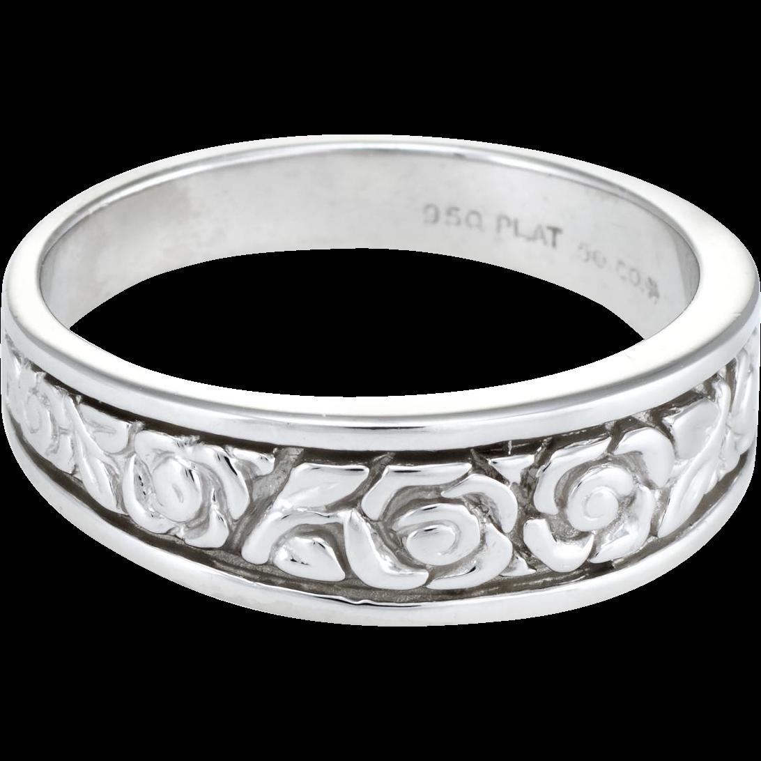 Embossed Flower Wedding Band Ring Vintage 950 Platinum