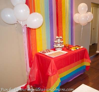 Shower Ideas Layer Plastic Tablecloths In Each Color Of The Rainbow White Balloons For Clouds Colored Streamers