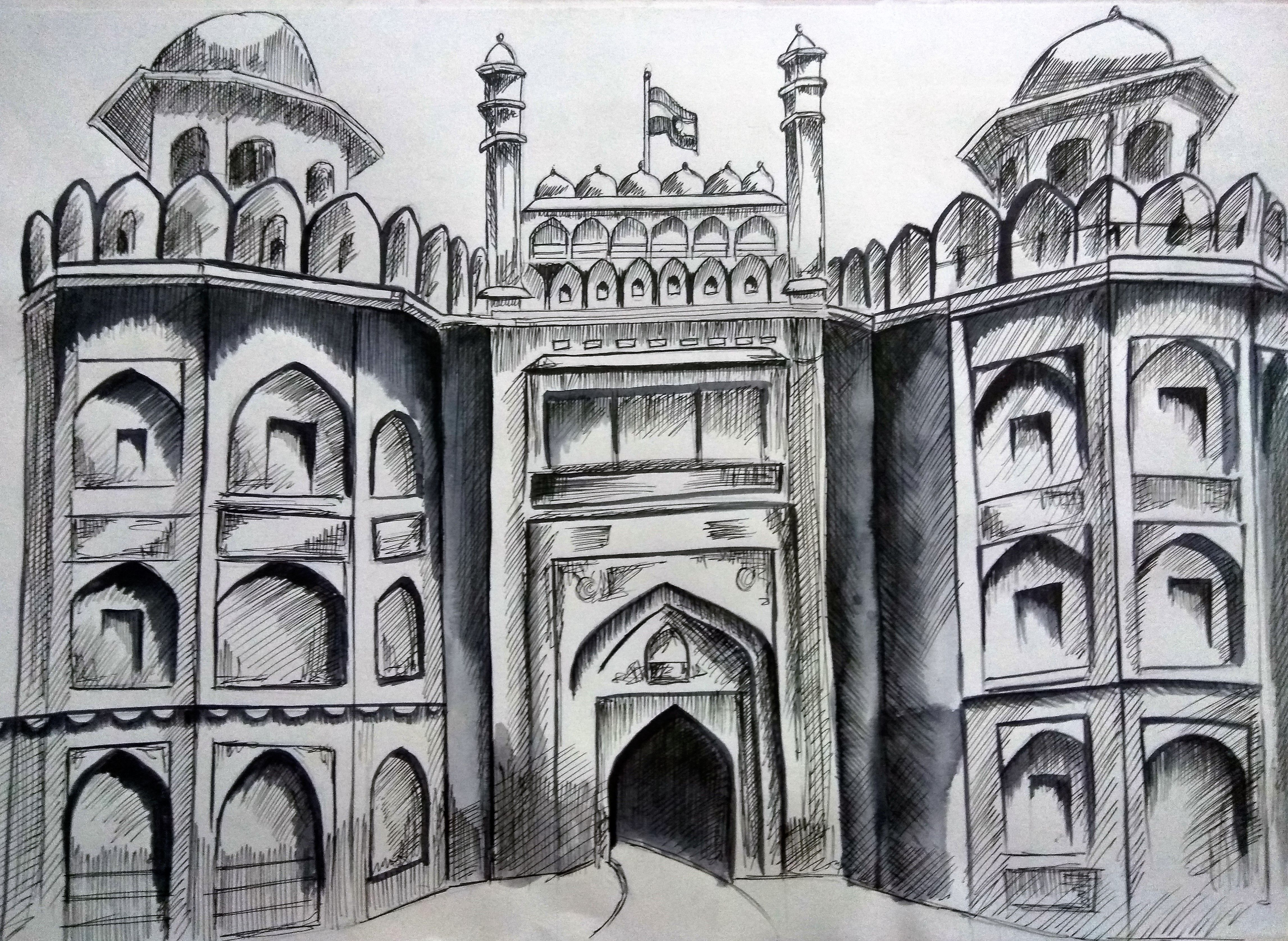 Red Fort Sketch Using Charcoal Pencil With Images Pencil