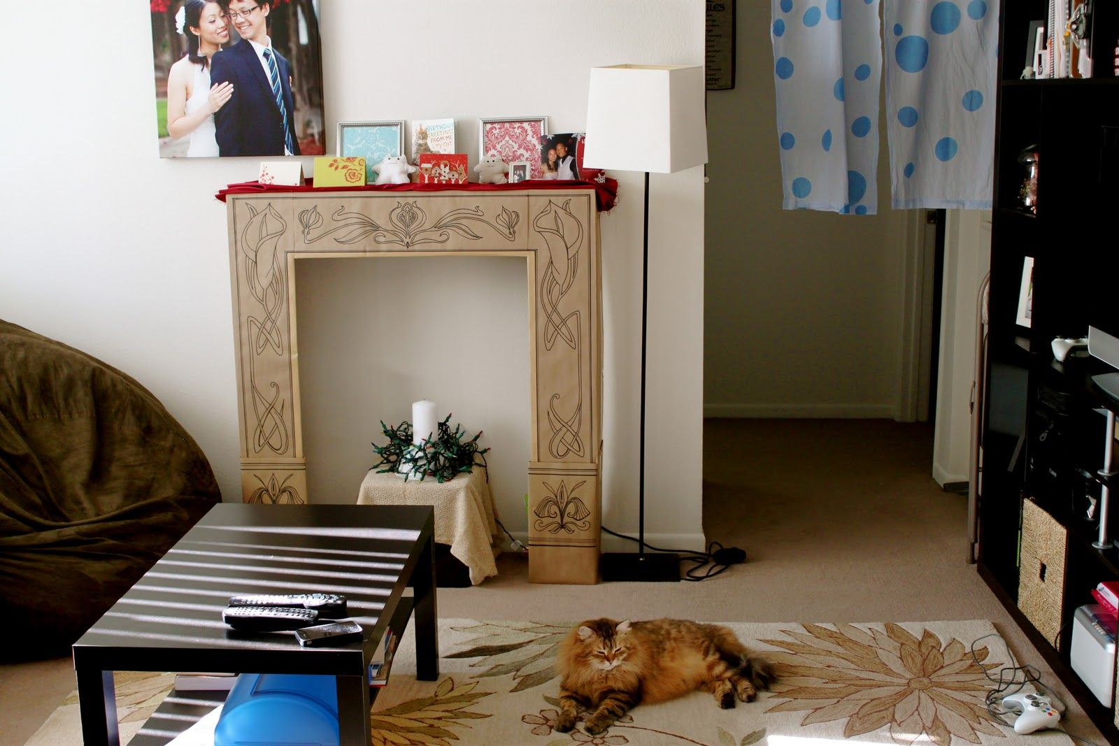 DIY Cardboard Faux Fireplace Design