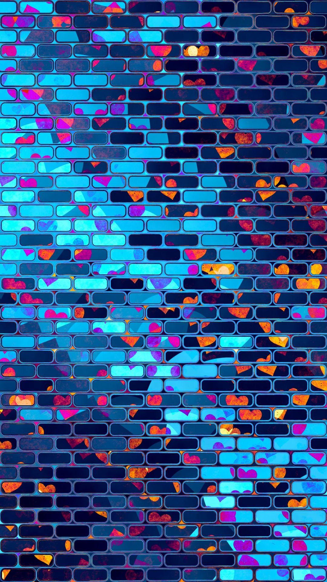 Neon, hearts, brick wall, 720x1280 wallpaper
