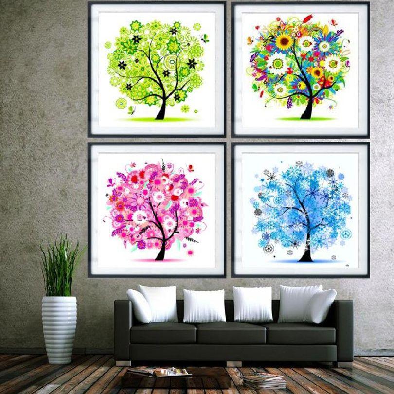 DIY  Scenic Painting Full  Diamond Picture Wall Art 5D Four-Seasons Tree