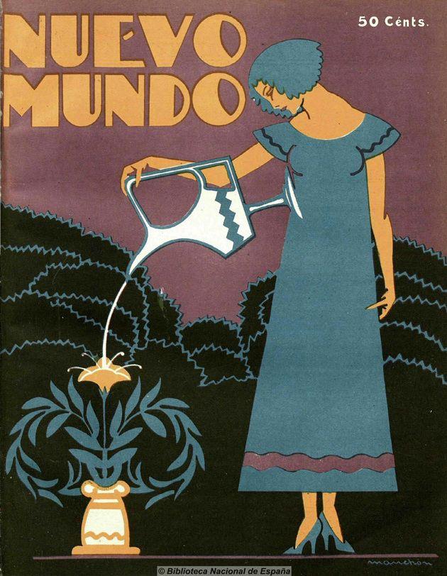 "1926, illus. Ramón Manchón (?). ""I Hear a Nuevo Mundo""Illustrated covers for the Spanish magazine Nuevo Mundo- 50 Watts"