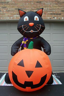 Gemmy 2005 Cat Pumpkin Air N Inflatable 7 Ft Lights Up Vgc Bx Ebay