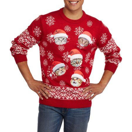 Santa Cat Men's Ugly Christmas Sweater, Size: Small, Red | Ugliest ...