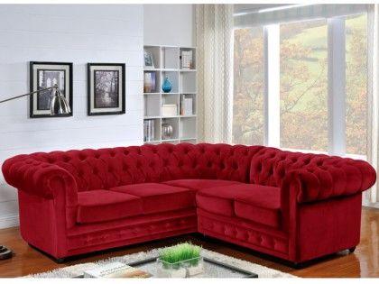 Canapé d\'angle en velours CHESTERFIELD - Rouge | Salon | Pinterest ...