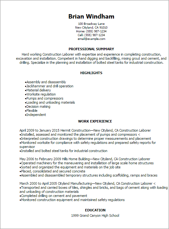 Laborer Resume Resume Templates Construction Laborer General Cover Letter Samples