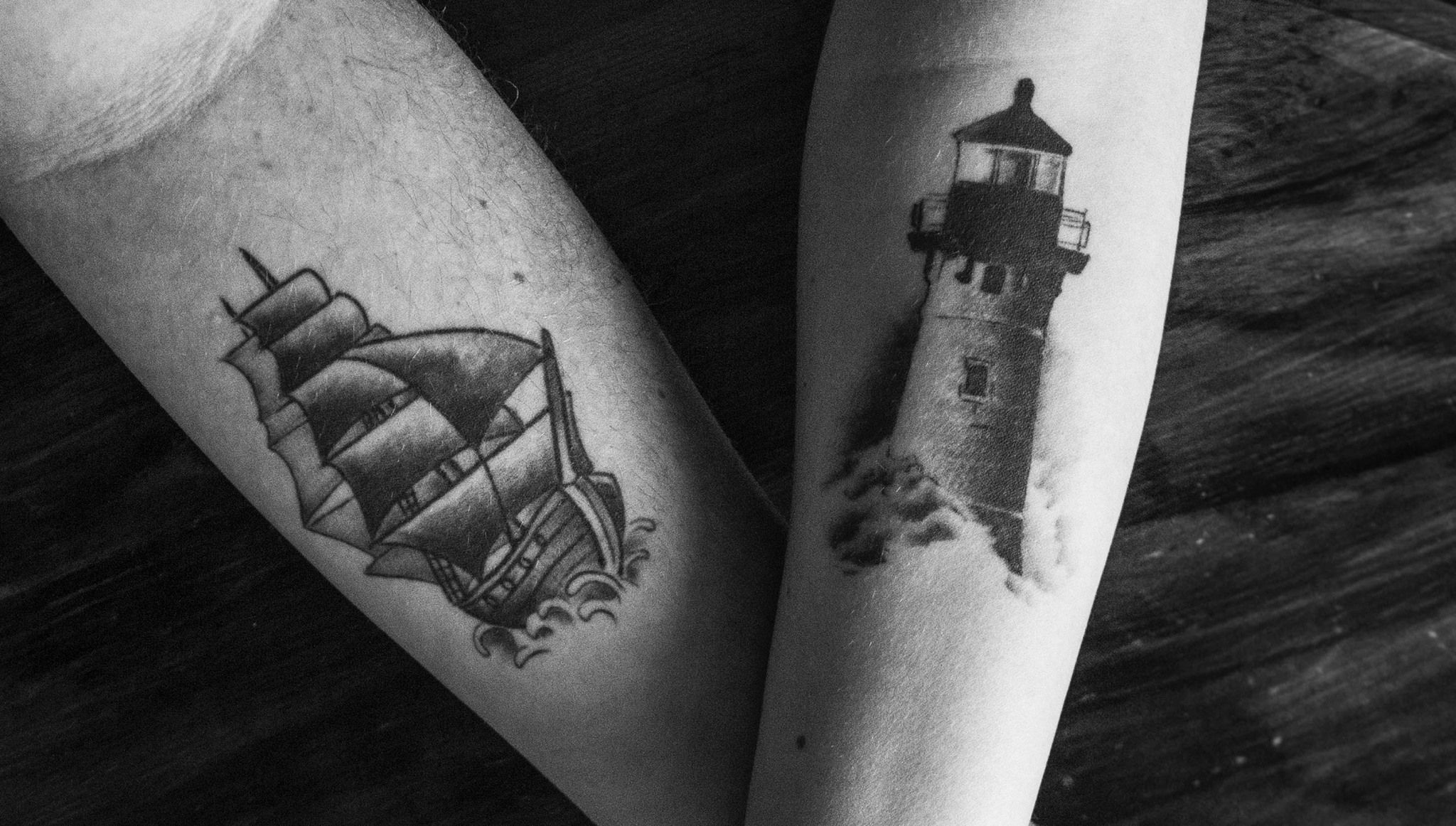 2b34fca0e Couple tattoo, light house tattoo, ship tattoo, black and white ...