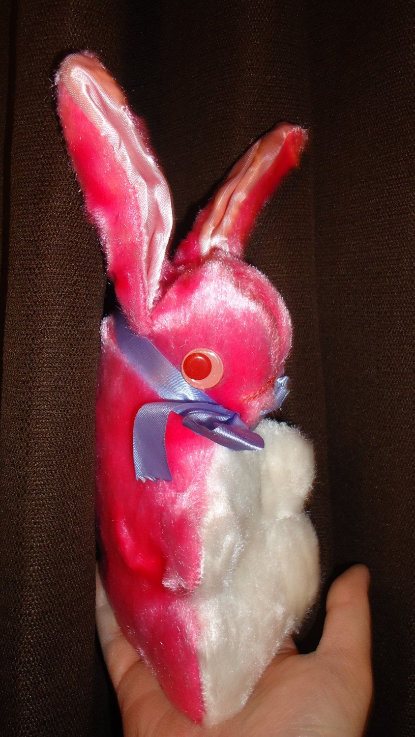 Vintage bunny Easter pink stuffed toy doll