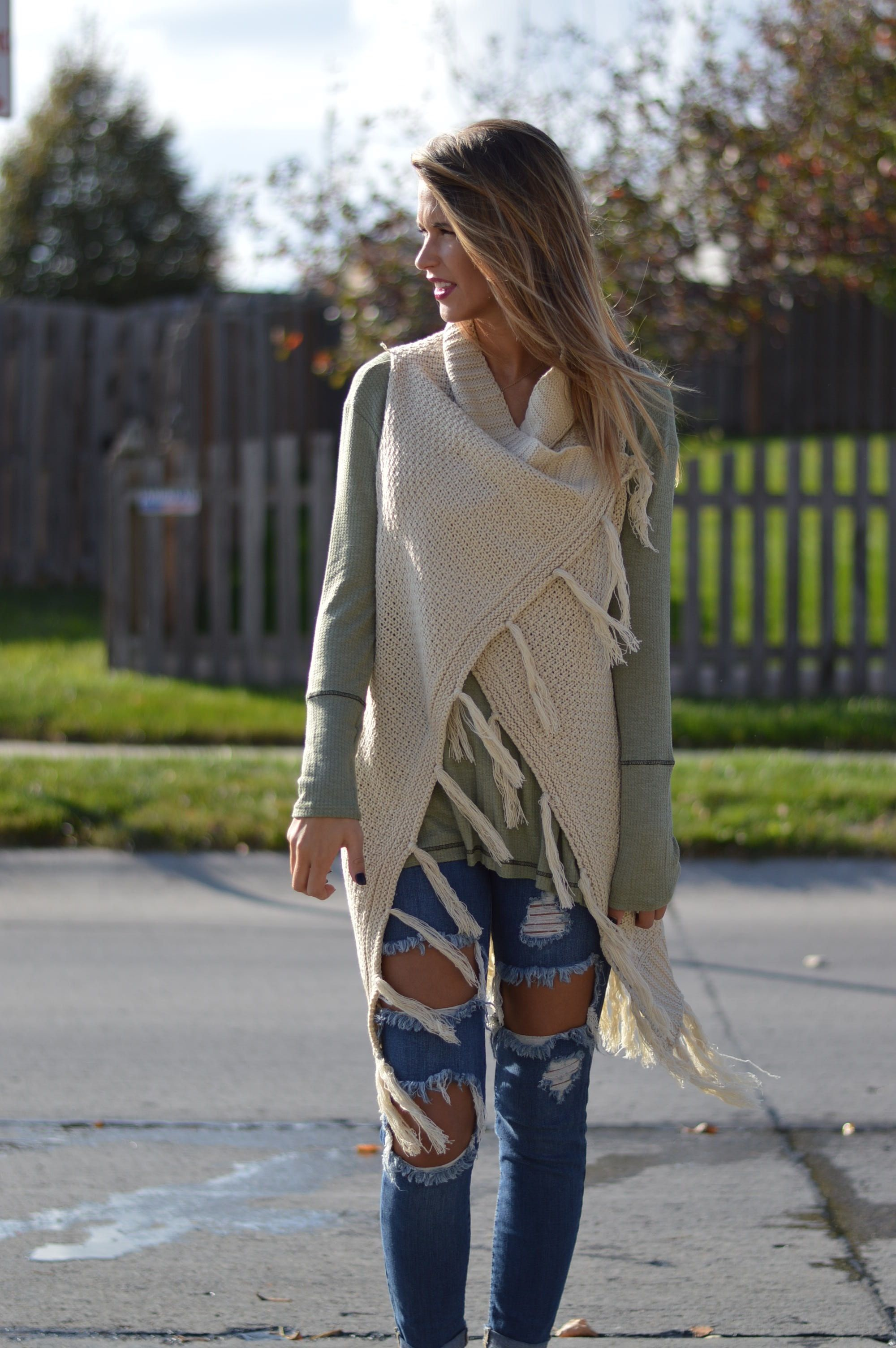 Fringe Sweater Vest | $44 | Foi Clothing | Oatmeal Tan Beige ...