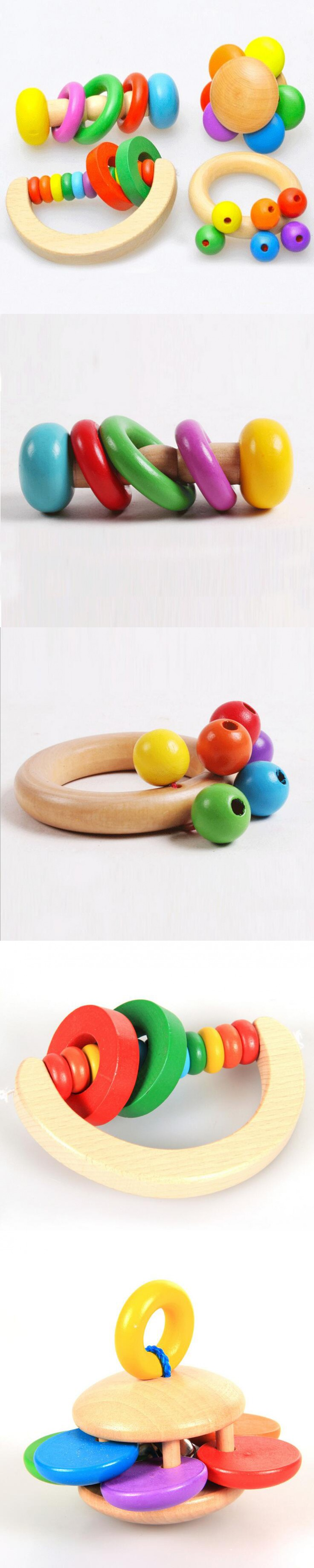 Hot Kid Baby Toys Wooden Bell Rattle Toy Handbell Musical