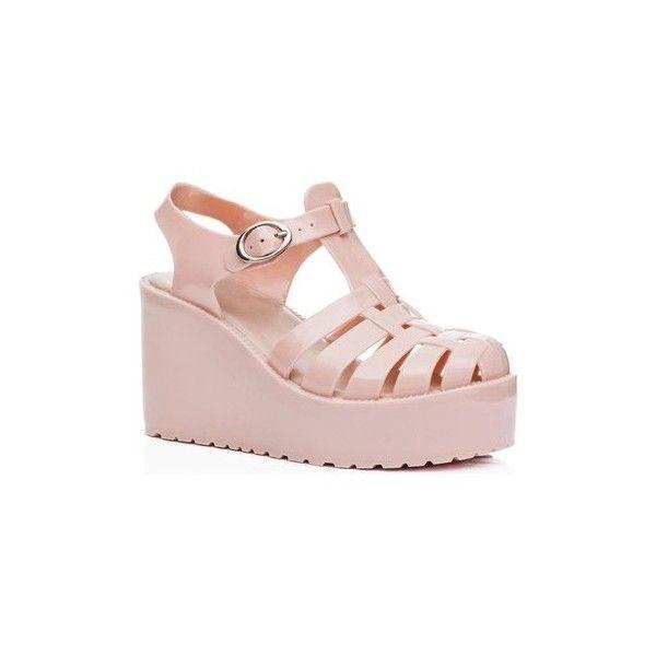 Spylovebuy VISOR Wedge Heel Buckle Flatform Jelly Platform Sandal... ($26) ❤