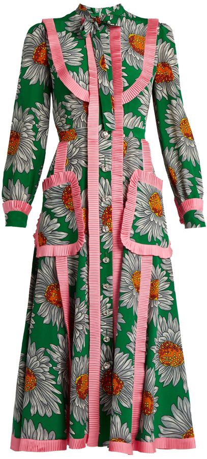6da8f96c9814be GUCCI Daisy-print silk crepe de Chine midi dress
