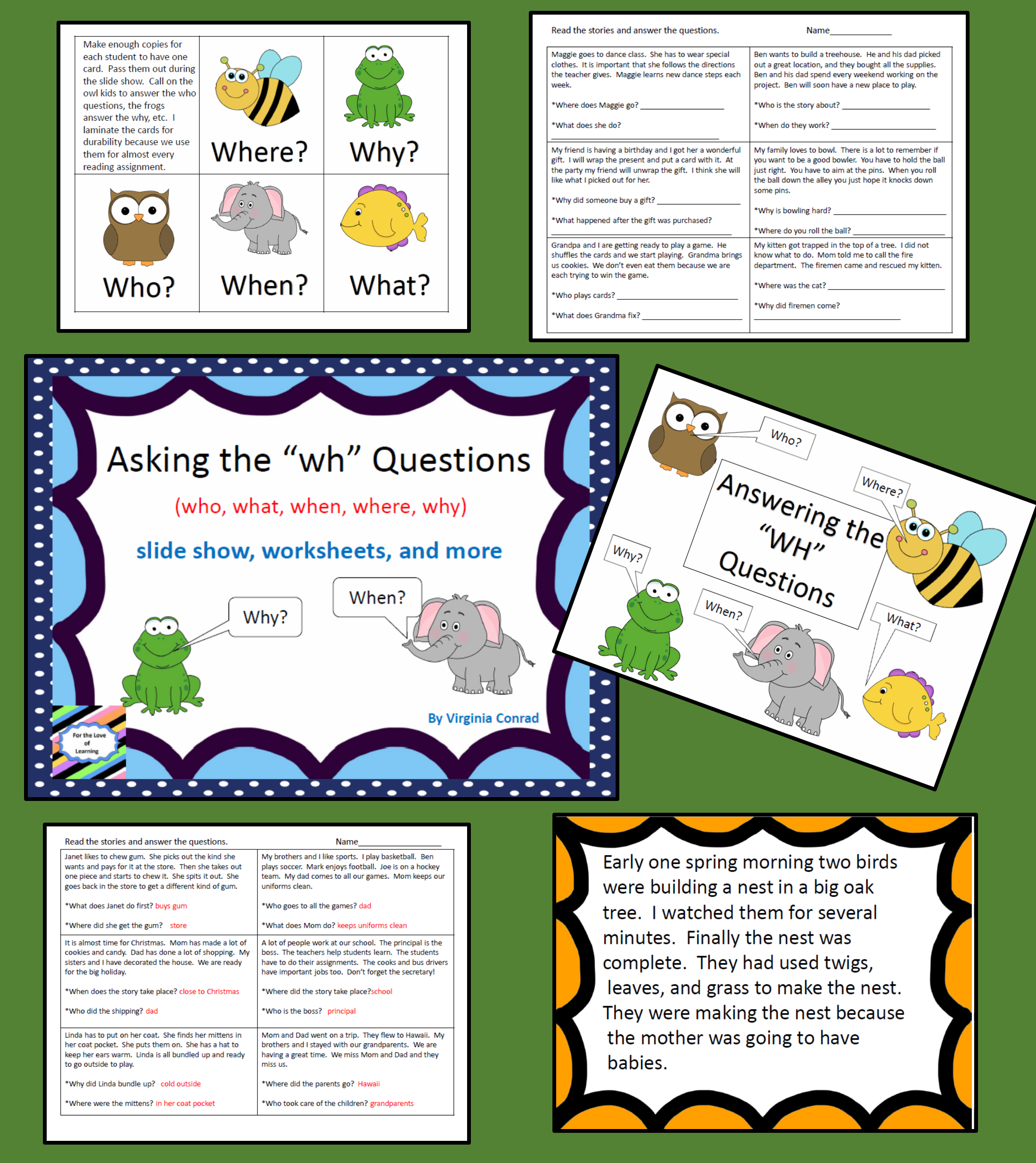 Answering The Wh Questions Slide Show And Worksheets