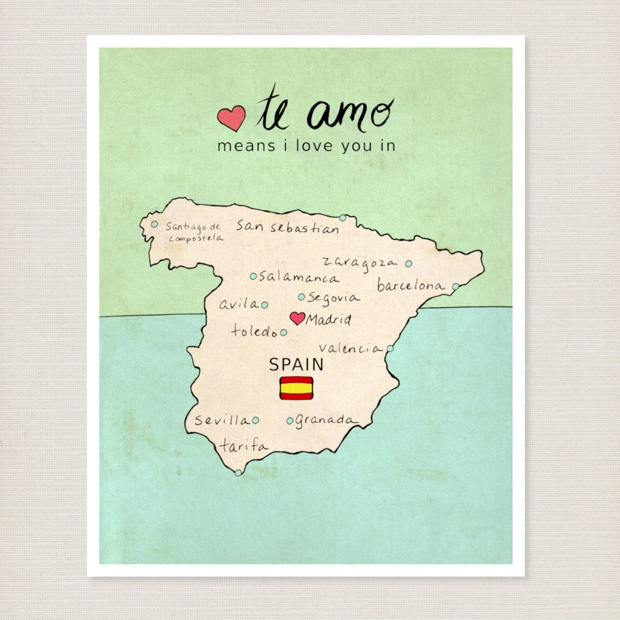 Kids Map Of Spain.Spanish Country Map Children Room Decor Wall Art Poster I