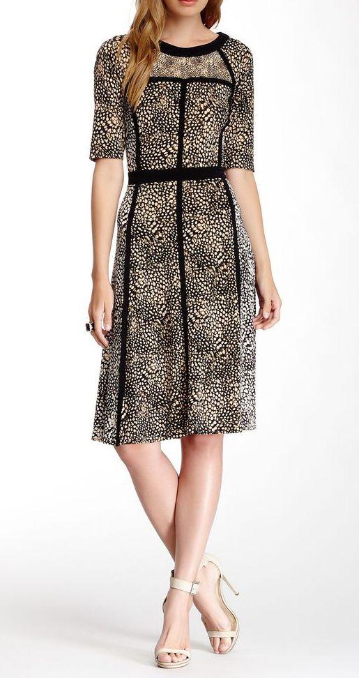 Elbow Sleeve Animal Print Dress