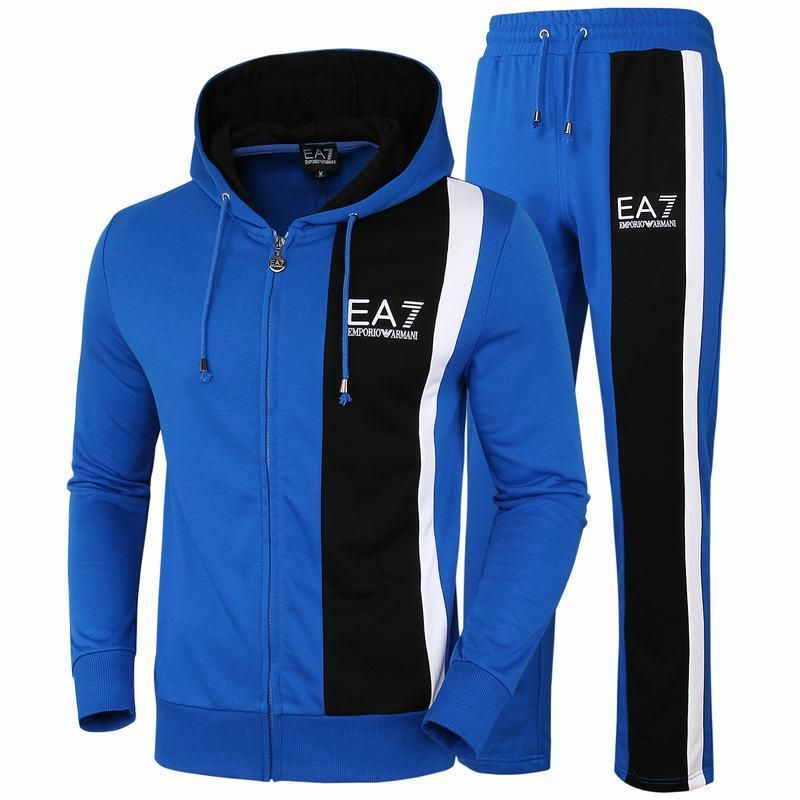 Replica Emporio Armani Men Sport Suit Brand Slim Fit Hooded Top+Full Pant  Casual Tracksuit