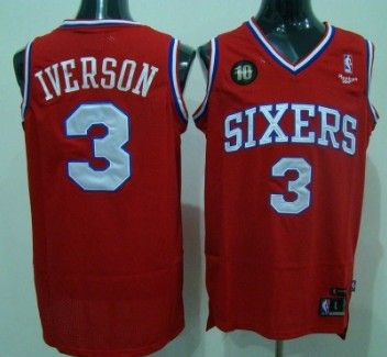 best sneakers 22b02 4523f Philadelphia Sixers #3 IVERSON Red 10TH Patch Jersey ...
