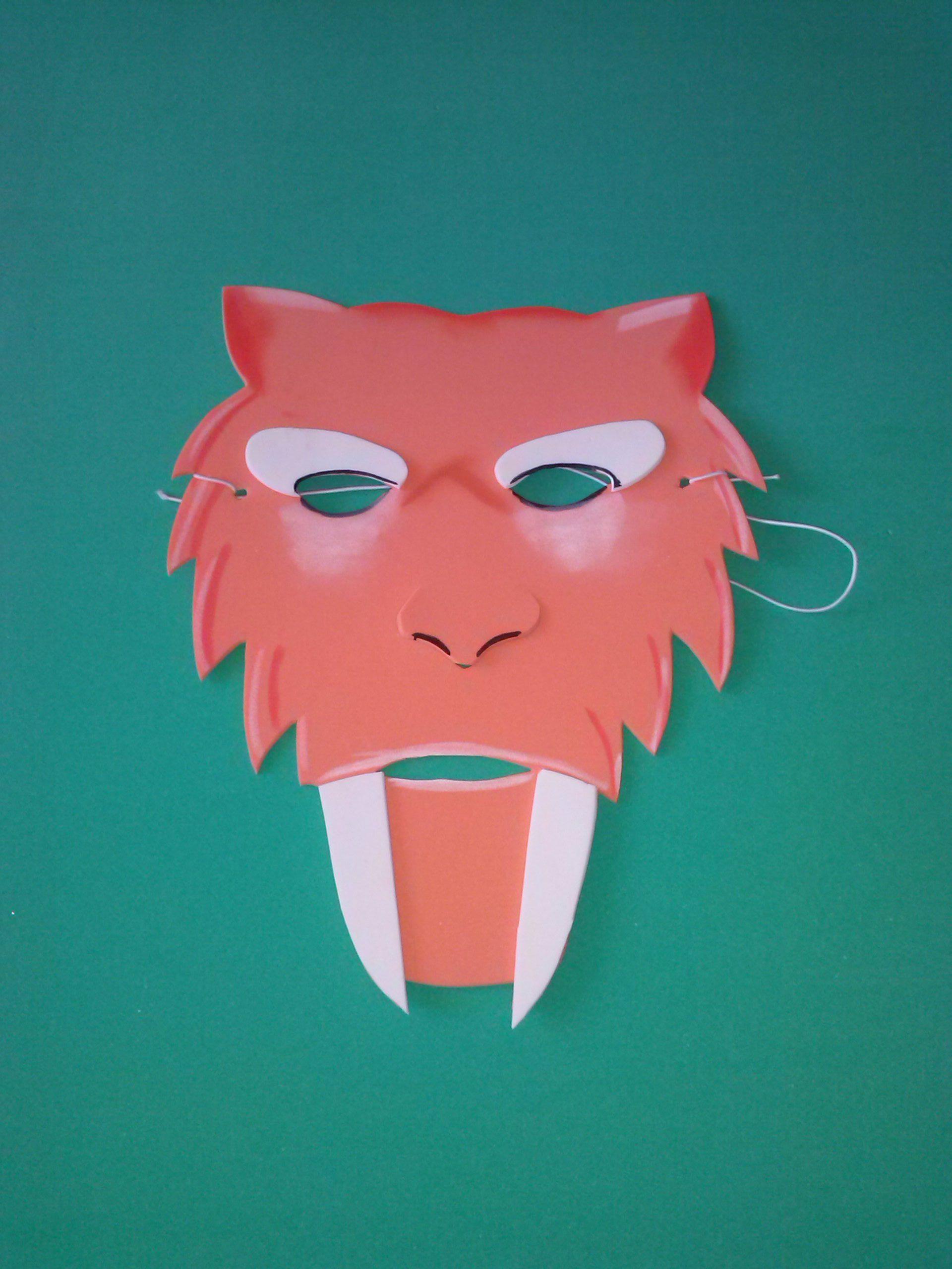 Máscara dientes de sable | dinos | Pinterest | Máscaras, Dientes de ...