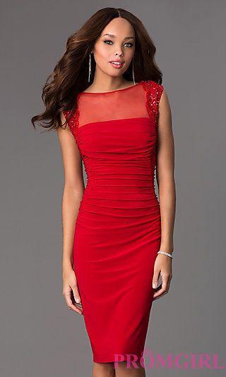 Knee Length Ruched Red Dress at PromGirl.com MI-ES-ES582 | My ...