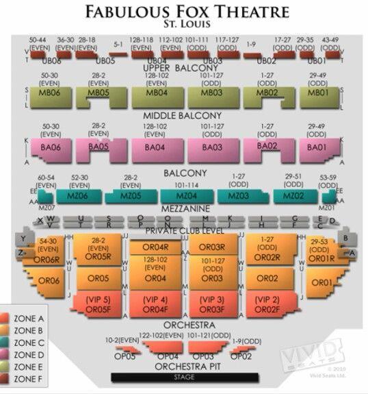 Fox theatre seating chart fox theatre st louis pinterest st