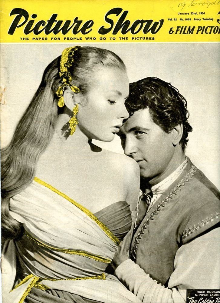 """Piper Laurie and Rock Hudson on the cover of """"Picture Show"""" magazine, United Kingdom, January 23rd 1954."""