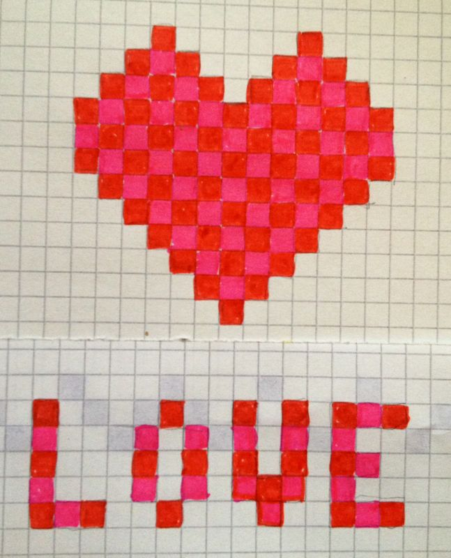 Simple pixel heart doodles, all you need is graph paper, felt tips and your imagination!