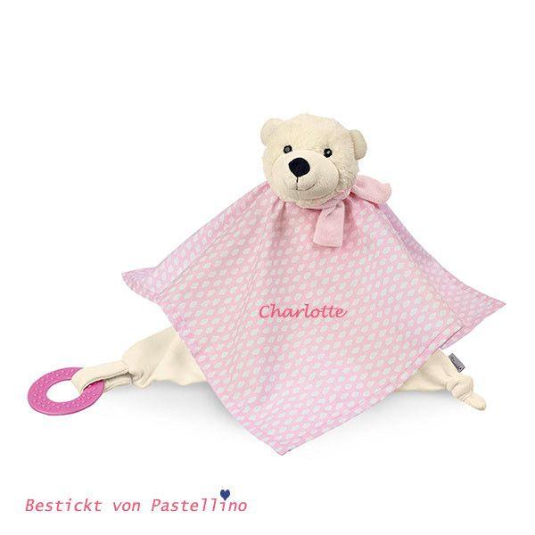 Baby Schmusetuch Bär mit Namen bestickt Schnuffeltuch Kuscheltuch Taufe Geburt