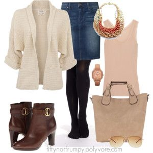Denim skirt, brown boots 40+ 50+ 60+ midlife chic/ style/ fashion