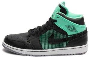 Nike Mens Air Jordan 1 Retro 89 Basketball Shoes Black/Green Glow/Cement  Grey